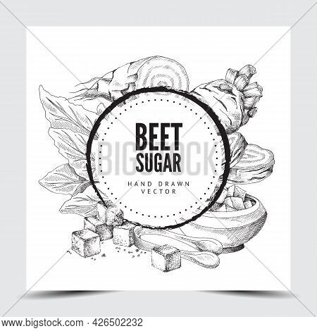 Black And White Hand Drawn Vector Illustration Round Frame Or Background With Beet Sugar And Kitchen