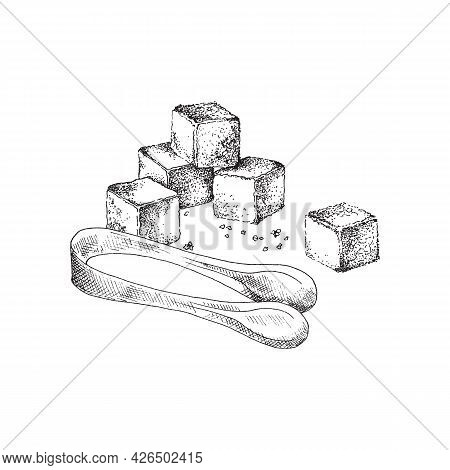 Natural Refined Food Beet Or Cane Sugar And Tongs A Vector Illustration.