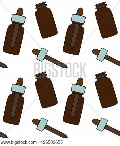 Vector Seamless Pattern Of Hand Drawn Doodle Sketch Colored Oil Essence Bottle Isolated On White Bac