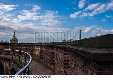 Leiden's Fortress With City Panorama In The Background, Leiden, Netherlands