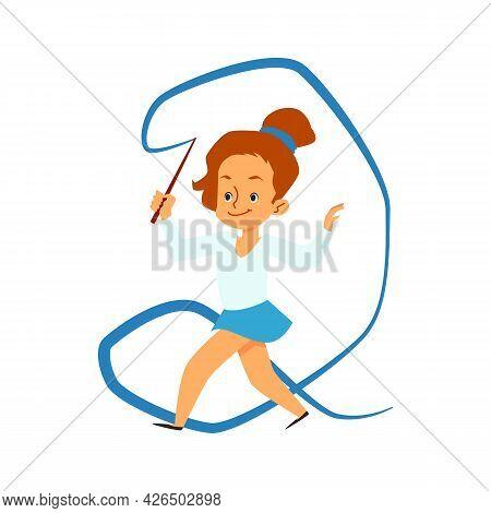 Kid Girl Gymnast Practicing Exercises Rhythmic Gymnastics With Ribbon.