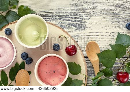 Eco Friendly Still Life With Berry, Frozen Yogurt. Summer, Food Composition With Natural, Vegan Ice