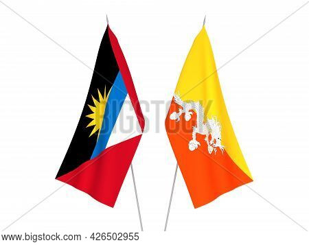 National Fabric Flags Of Antigua And Barbuda And Kingdom Of Bhutan Isolated On White Background. 3d