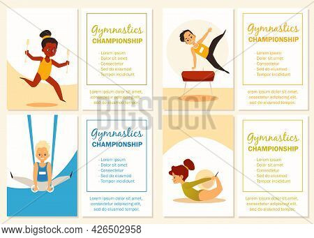 Set Banners For Children Gymnastic Championship, Flat Vector Illustration.