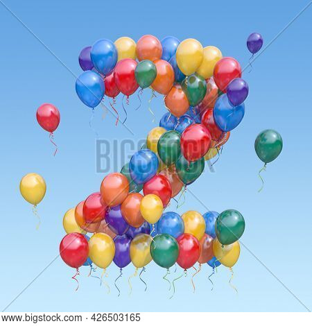 Number 2 two from balloons in the sky. Text letter for age, holiday, birthday, celebration. 3d illustration