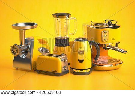 Yellow kitchen appliances on yellow background. Set of home kitchen technics. 3d illustration