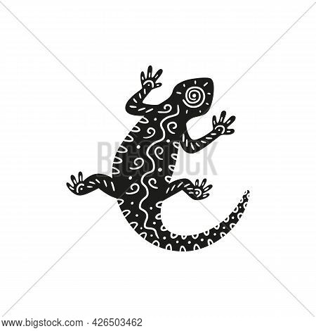 Silhouette Lizard Reptile Decorated Of Black And White Tribal Ornament