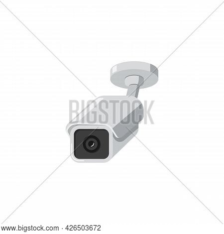 Secret Video Surveillance Camera Or Cctv Flat Vector Illustration Isolated.