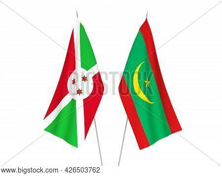 National Fabric Flags Of Burundi And Islamic Republic Of Mauritania Isolated On White Background. 3d