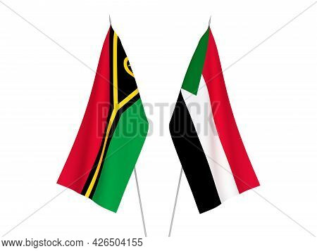 National Fabric Flags Of Sudan And Republic Of Vanuatu Isolated On White Background. 3d Rendering Il