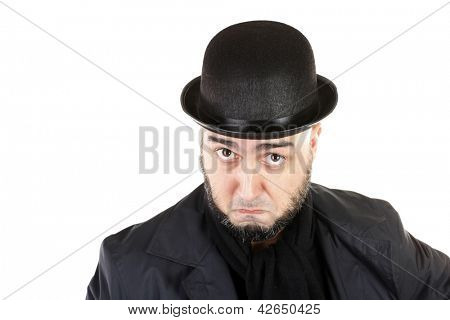 Suspicious man with beard and bowler hat