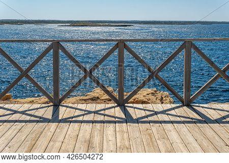 Wooden Footbridge On The Mediterranean Coast Of The Island Of Majorca In Summertime