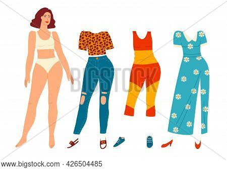 Colored Vector Illustration Of A Beautiful Girl Isolated On White Background. A Set Of Clothes For A