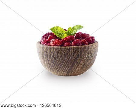 Wild Strawberries On White Background. Wildberries On A Wooden Bowl. Ripe Wild Strawberry Isolated O