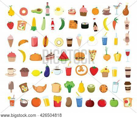 Big Set Icons Food, Flat Style. Fruits, Vegetables, Meat, Bread, Fast Food, Sweets. Meal Icon Isolat