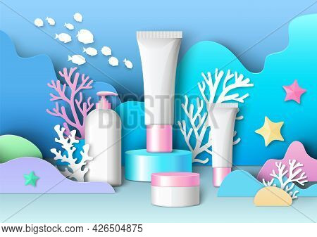 Marine Cosmetic Ads Template, Vector Illustration. White Blank Cosmetic Bottle Mockup Set, Paper Cut