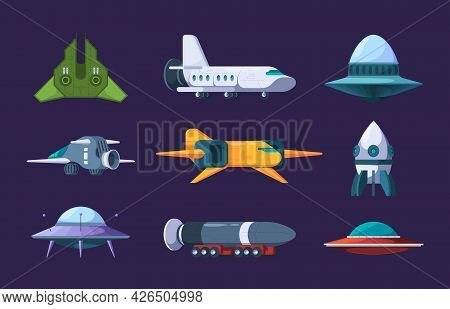 Space Shuttles. Rockets And Alien Ufo Jet Shuttle Universe Flying Futuristic Planers Garish Vector F