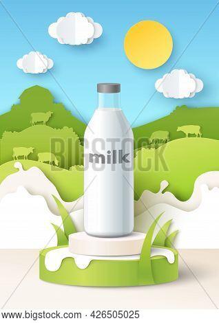 Milk Bottle Mockup On Podium, Paper Cut Fields, Cows, Milk Splashes, Vector Illustration. Natural Da