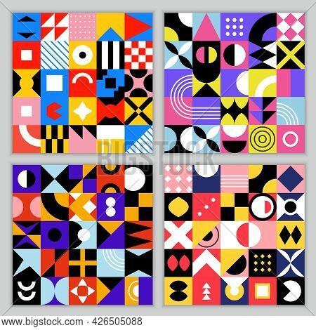 Neo Geo Pattern. Seamless Background With Geometrical Shapes Vintage Colored Squares Circles Triangl