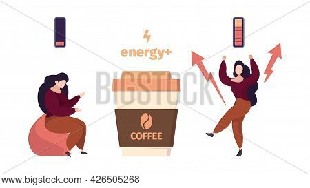 Coffee Energy. Woman Before And After Drinking Hot Drink. Active Life Position, Tired Female Vector
