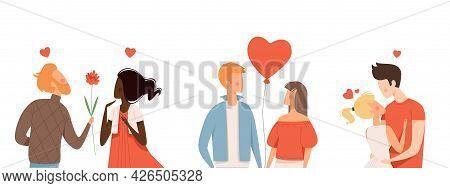 Multicultural Couple In Love. People Hugging, Kisses Characters. Family, Boyfriend Hug Girlfriend Ve