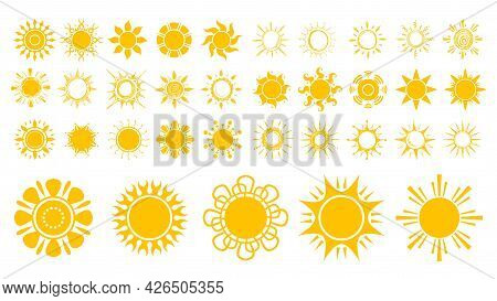 Sun Icons. Isolated Yellow Suns, Flat And Sketch Sunny Elements. Spring Summer Season, Good Hot Weat