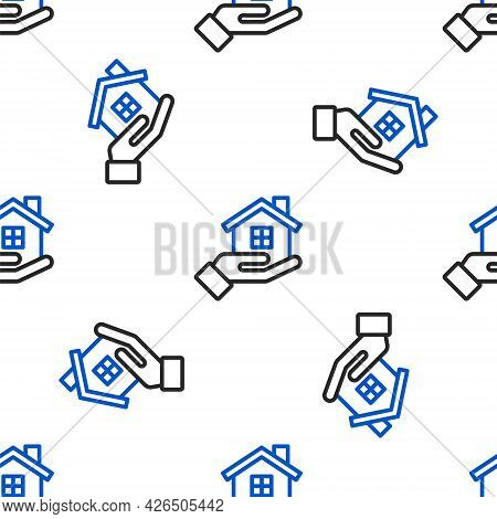 Line House In Hand Icon Isolated Seamless Pattern On White Background. Insurance Concept. Security,