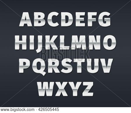 Silver Alphabet. 3d Text Templates Realistic Luxury Gradients Letters And Numbers Garish Vector Alph