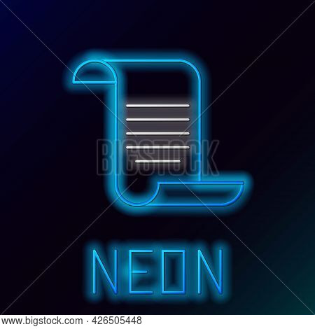 Glowing Neon Line Document With Shield Icon Isolated On Black Background. Insurance Concept. Securit
