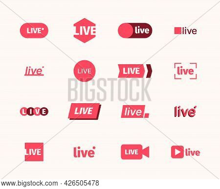 Live Broadcast Icon. Play Video Air Symbols Tv Show Online Red Logotypes Collection Garish Vector Li