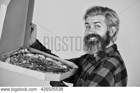 Hungry Man Going To Eat Pizza Alone. Send Meals To Homes. Delivering Food To Apartment. Fresh And Ho