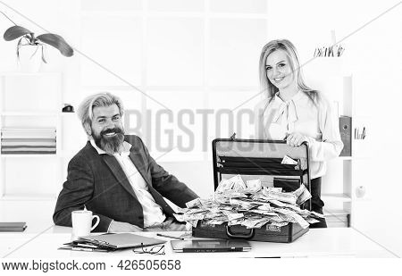 Lack Of Money. Corporate Leather Bag. Business Couple With Case At Workstation. Happiness And Succes