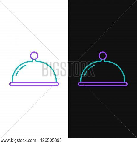 Line Covered With A Tray Of Food Icon Isolated On White And Black Background. Tray And Lid Sign. Res