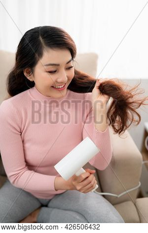 Healthy Girl With Hair Dryer Isolated - Image