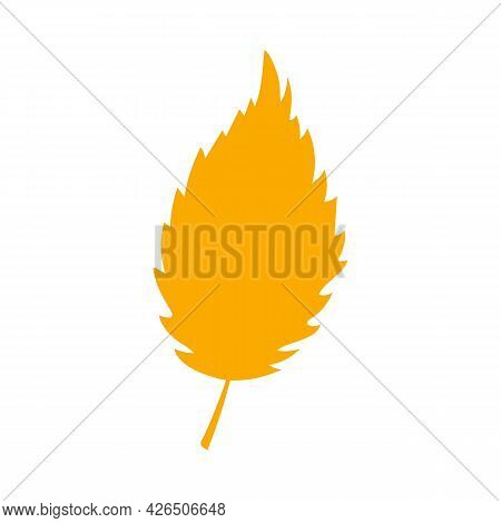 Simple Autumn Leaf, Herbal Element. Fall Orange Elm Leaf. Can Be Used As Sign, Symbol, Icon. Autumn