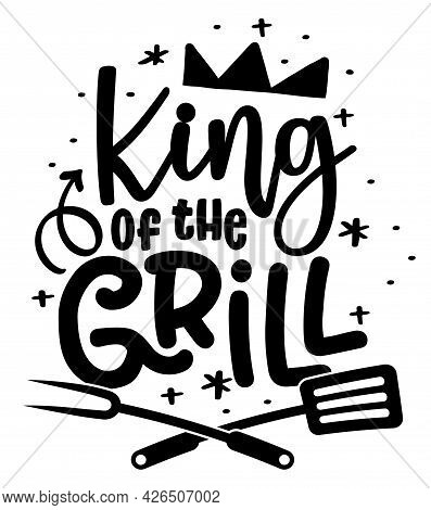 King Of The Grill - Label. Barbeque Elements For Labels, Logos, Badges, Stickers Or Icons. Vector Il