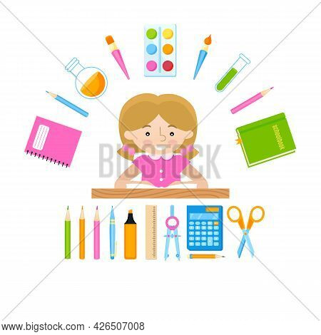 Schoolchild Digital Illustration. Schoolgirl And School Stationery Supplies.
