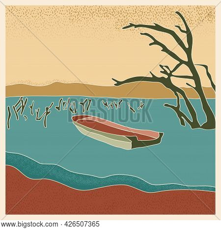 Abstract Retro Landscape Poster. Stylized Boat In Lake With Dry Tree Trunks, Mountains On The Horizo