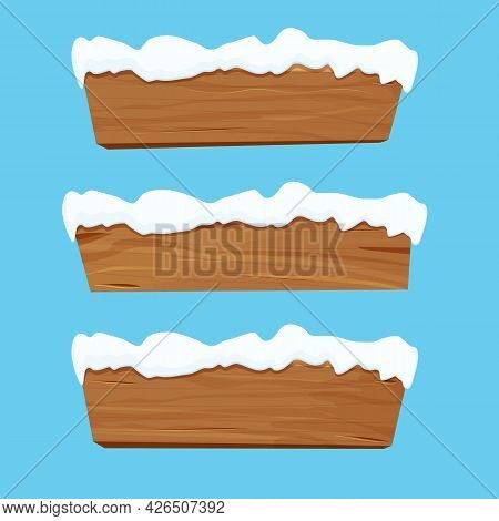 Wood Sign, Banner, Wooden Empty Plank With Snow In Cartoon Style Isolated On White Background. Game