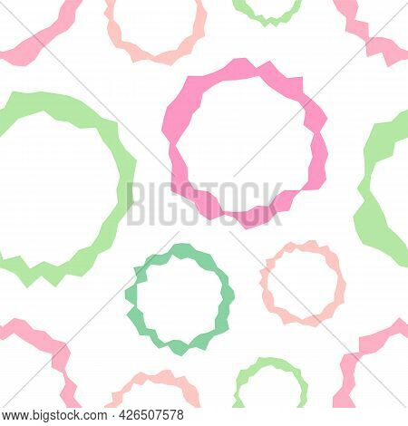 Cute Abstract Pattern From Circles. Seamless Baby Pattern, Texture With Pastel Circles. Children's P
