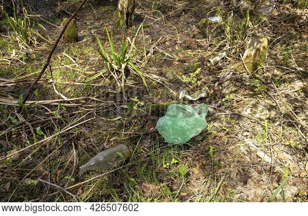 Kokshetau - Kazakhstan - May 15, 2021: Environmental Pollution Problem Littering In The Forest, Garb