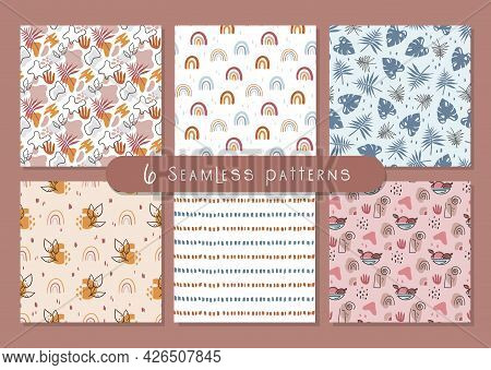 Boho Abstract Seamless Pattern Or Digital Paper Bundle, Simple Geometric And Floral Background Bohem