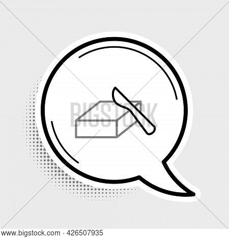 Line Butter In A Butter Dish Icon Isolated On Grey Background. Butter Brick On Plate. Milk Based Pro