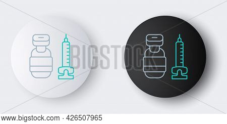 Line Medical Syringe With Needle Icon Isolated On Grey Background. Vaccination, Injection, Vaccine,