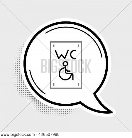 Line Separated Toilet For Disabled Persons Icon Isolated On Grey Background. Handicapped Accessible
