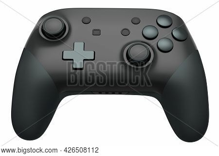 Realistic Black Video Game Joystick On White Background. 3d Rendering Of Streaming Gear For Cloud Ga
