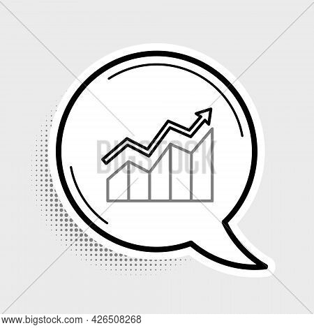 Line Financial Growth Increase Icon Isolated On Grey Background. Increasing Revenue. Colorful Outlin