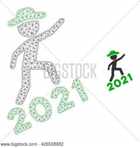 Mesh Gentleman Climbing 2021 Model Icon. Wire Frame Polygonal Mesh Of Vector Gentleman Climbing 2021