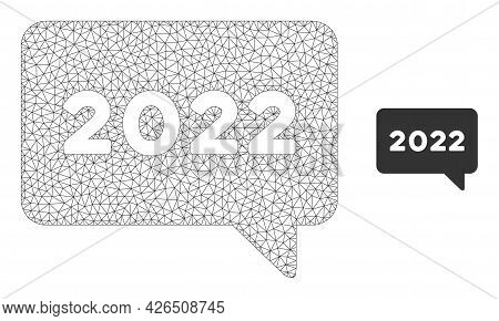 Mesh 2022 Message Model Icon. Wire Carcass Triangular Mesh Of Vector 2022 Message Isolated On A Whit