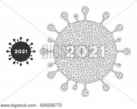 Mesh 2021 Coronavirus Model Icon. Wire Frame Triangular Mesh Of Vector 2021 Coronavirus Isolated On